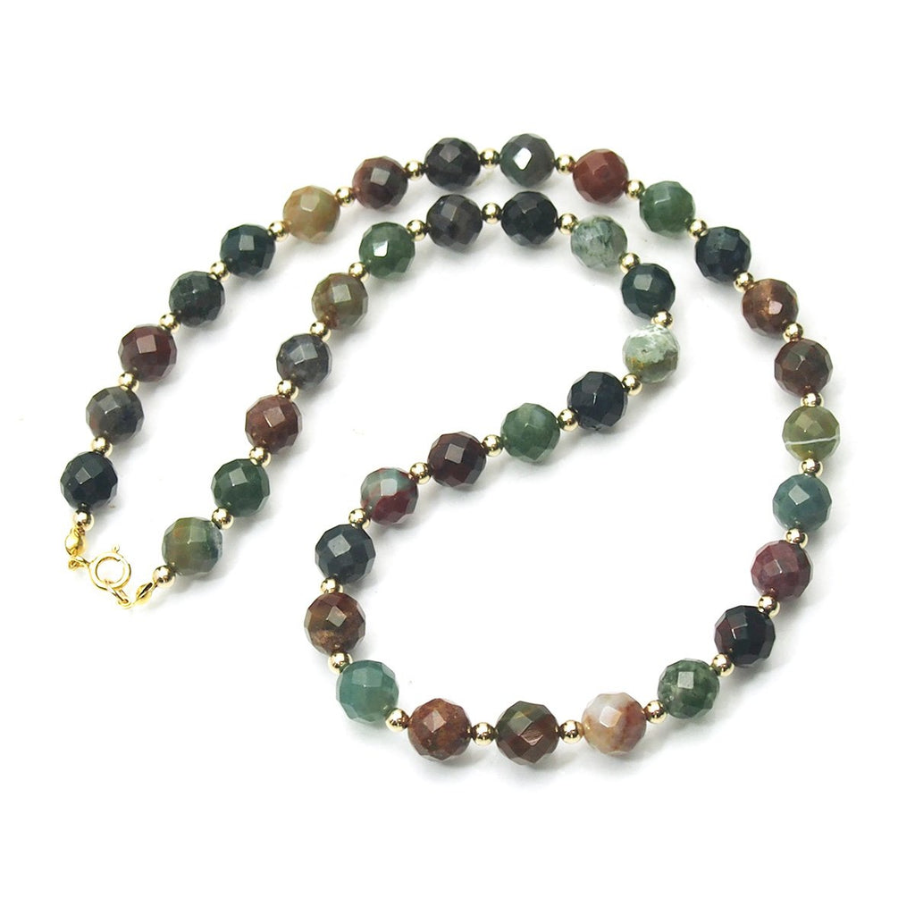 Bloodstone Faceted Rounds Necklace 10mm with Gold Filled Spring Clasp