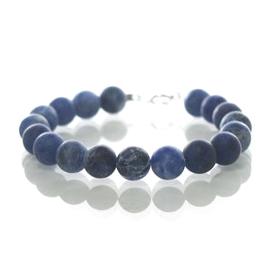 Sodalite Matte 8mm Smooth Round Bracelet with Sterling Silver Spring Ring Clasp