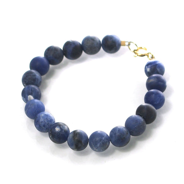 Sodalite Matte 8mm Smooth Round Bracelet with Gold Filled Spring Ring Clasp
