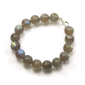Labradorite 10mm Smooth Round Bracelet with Sterling Silver Trigger Clasp