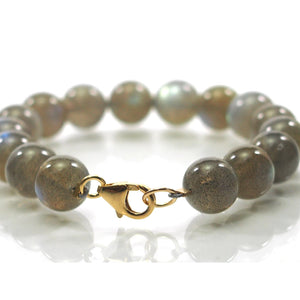 Labradorite 10mm Smooth Round Bracelet with Gold Filled Trigger Clasp