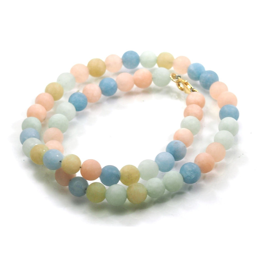 Pastel Aquamarine Matte 8mm Smooth Round Necklace with Gold Filled Trigger Clasp