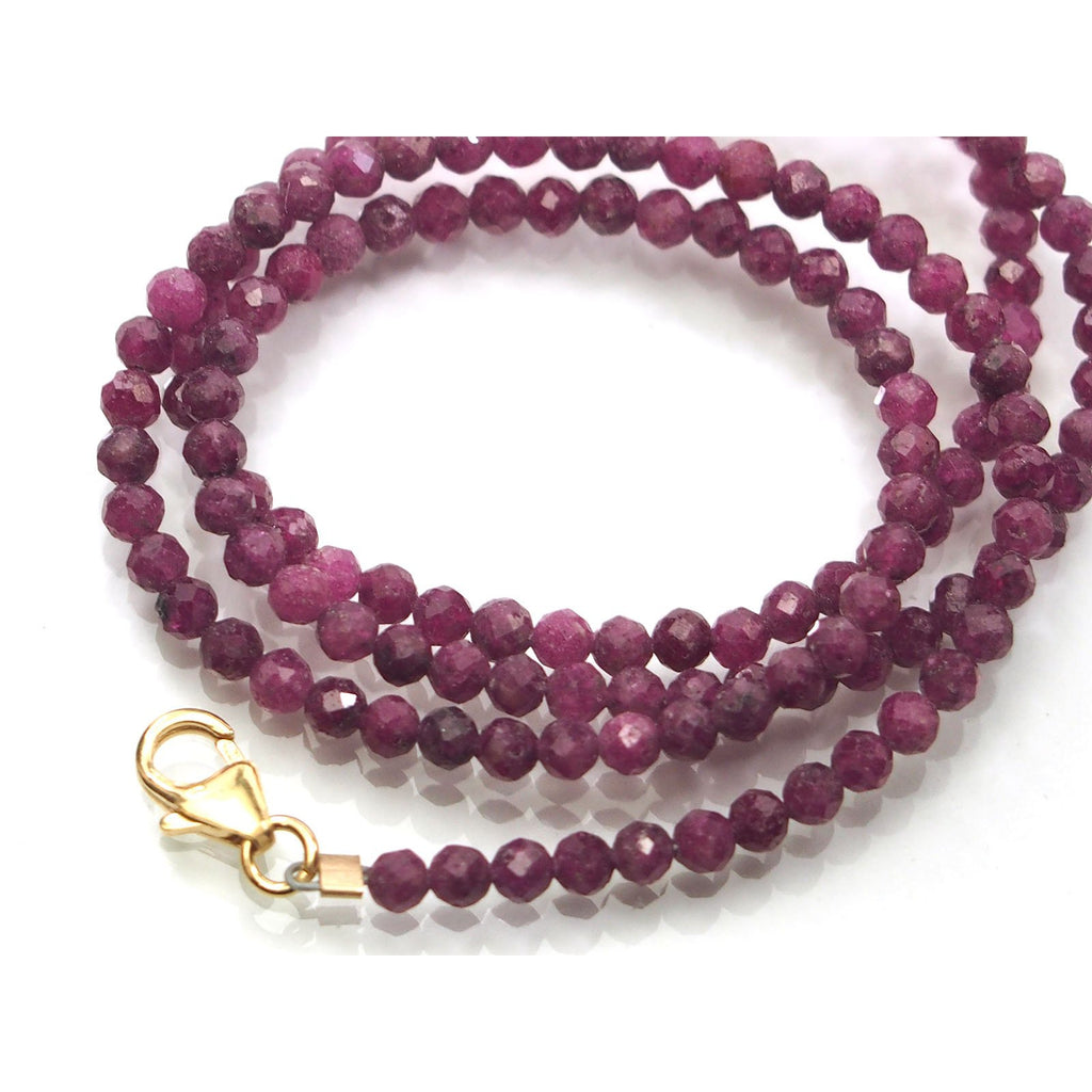 Ruby 3mm Faceted Round Necklace with Gold Filled Trigger Clasp