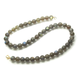 Labradorite 10mm Smooth Round Necklace with Gold Filled Trigger Clasp