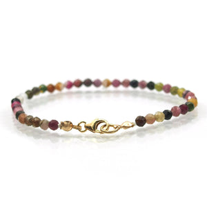 Multi Colored Tourmaline 4mm Faceted Round Bracelet with Gold Filled Trigger Clasp