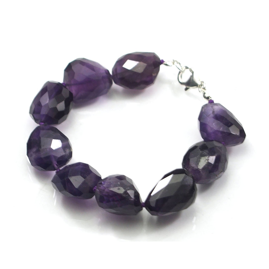 Faceted Amethyst Nugget Bracelet with Sterling Silver Trigger Clasp 15-17mm