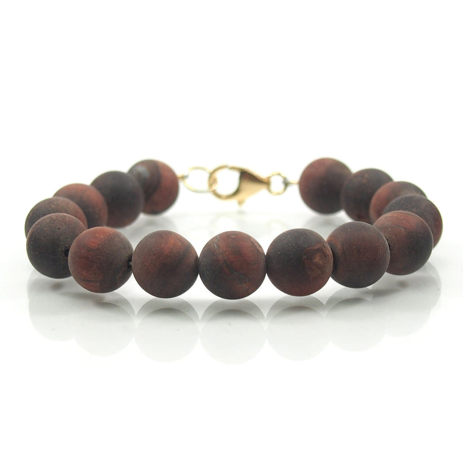 Matte Red Tiger's Eye 10mm Smooth Round Bracelet with Gold Filled Trigger Clasp