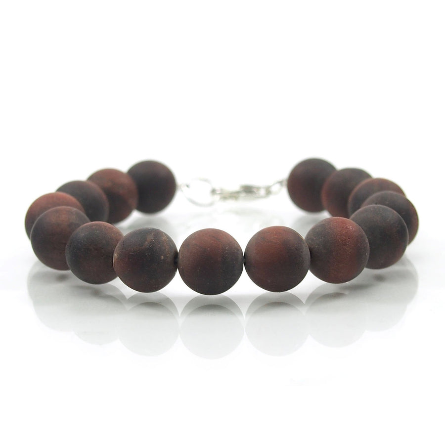 Matte Red Tiger's Eye 10mm Smooth Round Bracelet with Sterling Silver Trigger Clasp