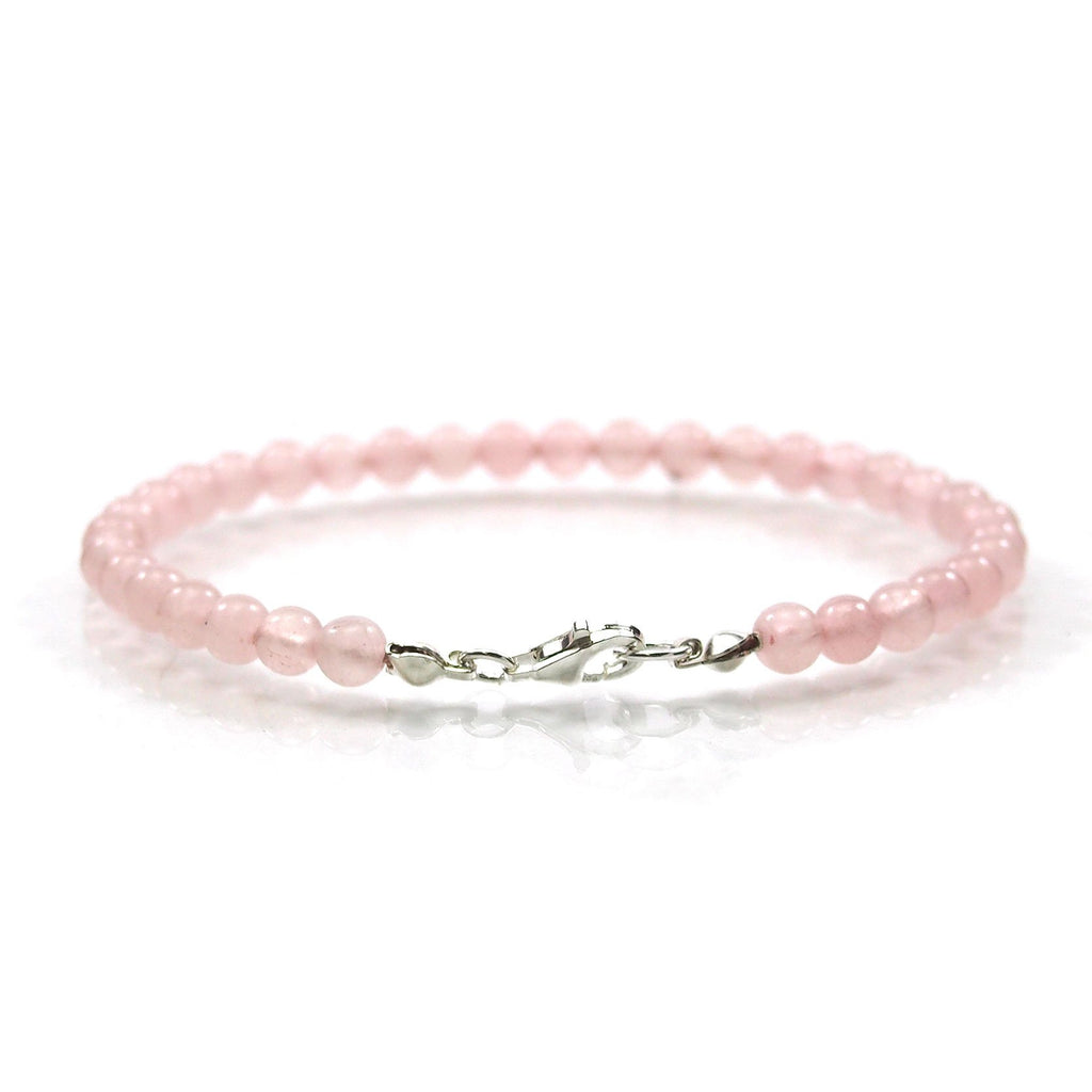 Rose Quartz 4mm Smooth Round Bracelet with Sterling Silver Trigger Clasp
