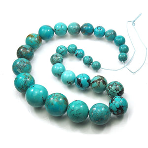 Extra-Fine Natural Chinese Turquoise XL Rounds Strand