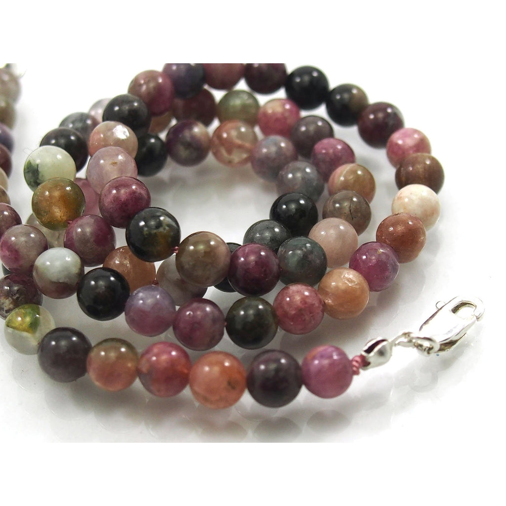 Multi Colored Tourmaline 6mm Smooth Round Necklace with Sterling Silver Trigger Clasp