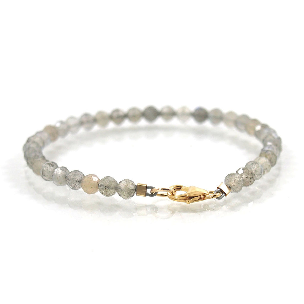 Labradorite 4mm Faceted Round Bracelet with Gold Filled Trigger Clasp
