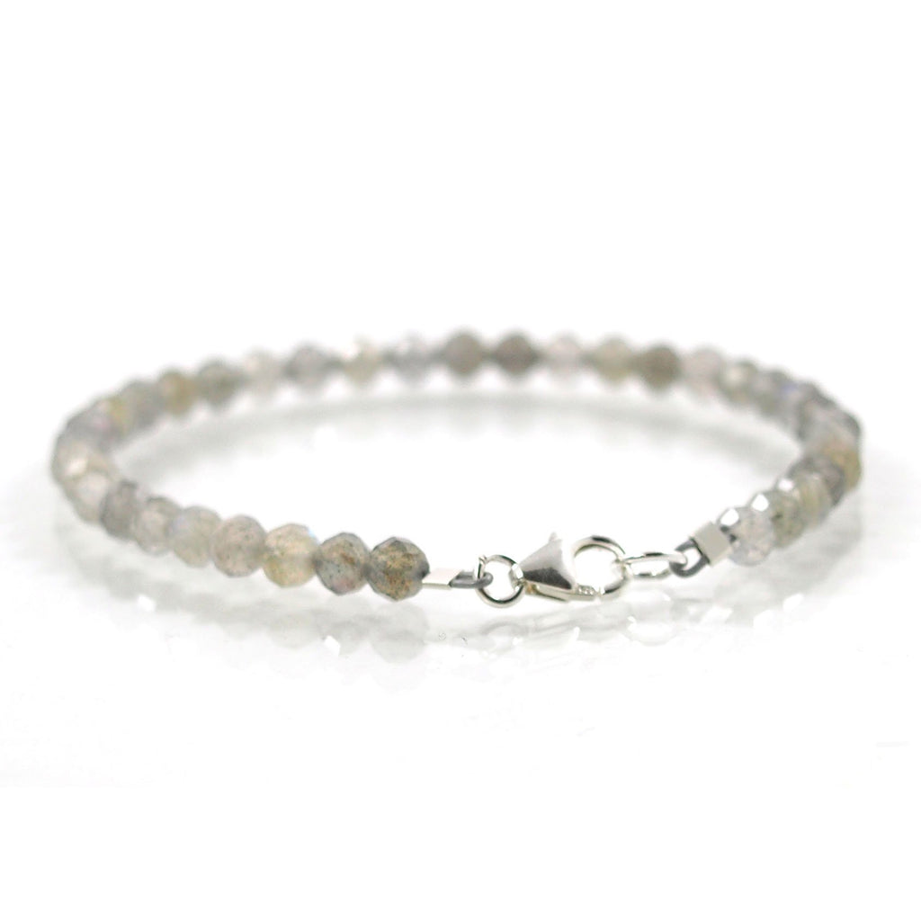 Labradorite 4mm Faceted Round Bracelet with Sterling Silver Trigger Clasp
