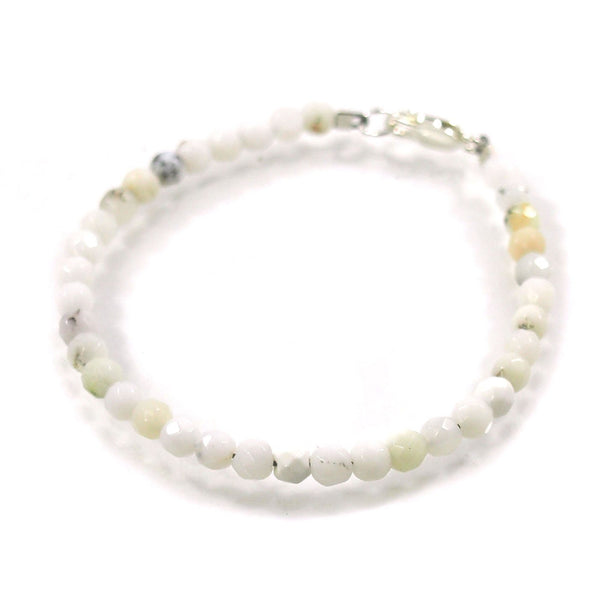 White Opal 4mm Faceted Round Bracelet with Sterling Silver Lobster Clasp