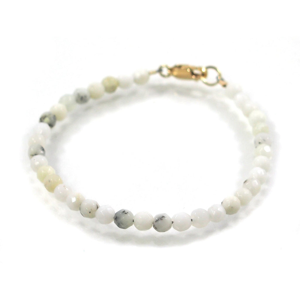 White Opal 4mm Faceted Round Bracelet with Gold Filled Lobster Clasp