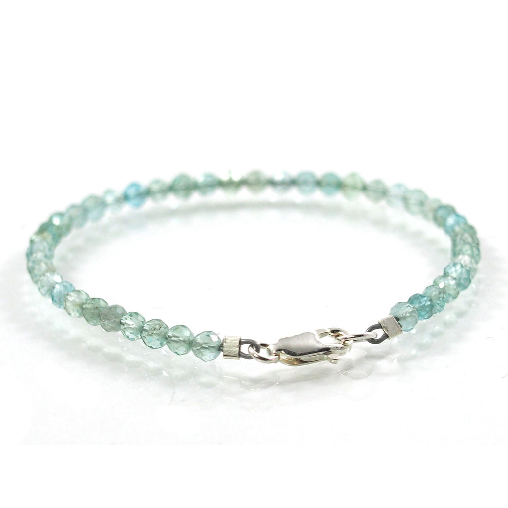 Swiss Blue Topaz 3.5mm Faceted Round Bracelet with Sterling Silver Trigger Clasp