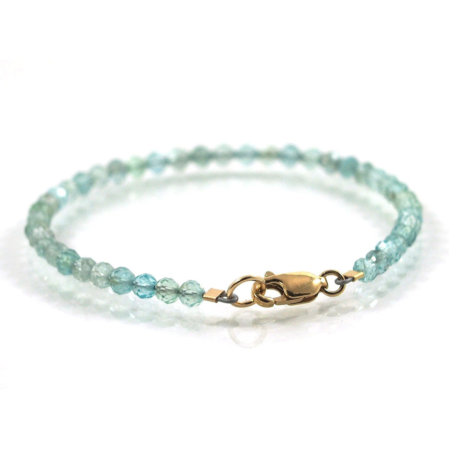 Swiss Blue Topaz 3.5mm Faceted Round Bracelet with Gold Filled Trigger Clasp