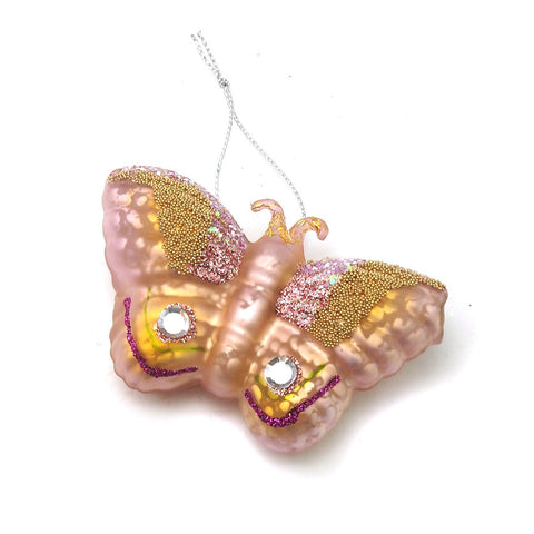 Jeweled Butterfly Glass Ornament