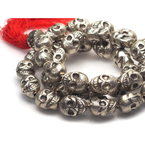 Sterling Silver 36 Bead Skull Mala, Large