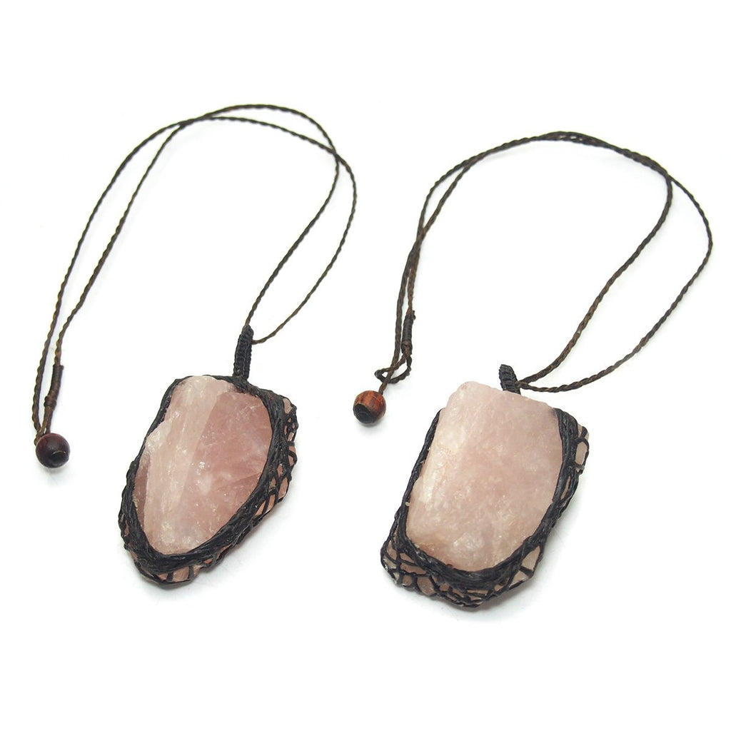 Hempwrap Pendants, Rose Quartz