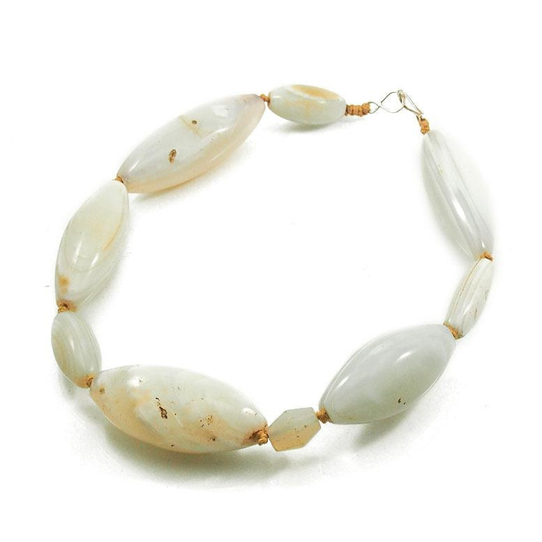 18th-19th Century White Banded Agate Necklace