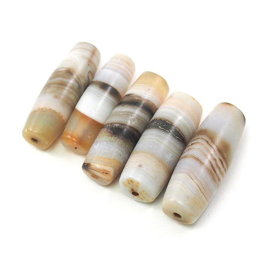 Banded Agate Barrel Shape Beads III