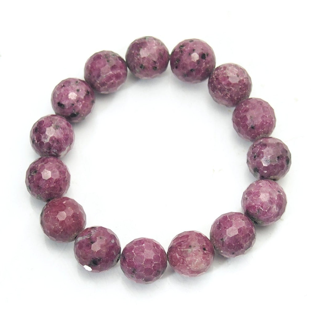 Ruby-Zoisite Stretch Bracelet Faceted 13-14mm