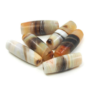 Banded Agate Barrel Shape Beads