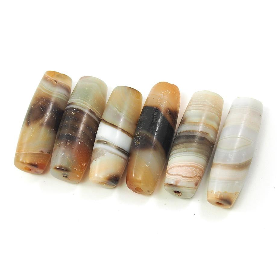 Banded Agate Barrel Shape Beads ll