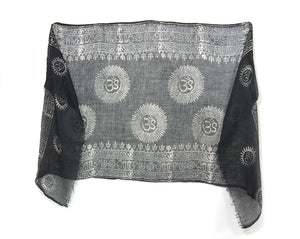 Om Printed Cotton Scarf, Black