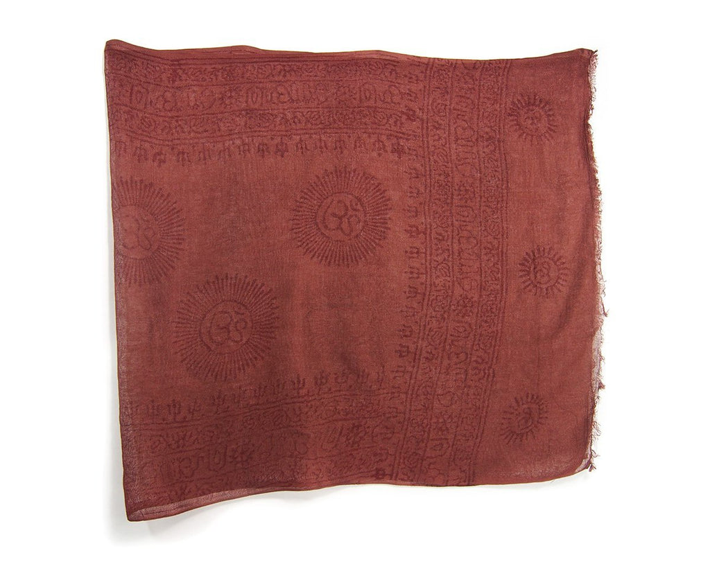 Om Printed Cotton Scarf, Brown