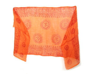 Om Printed Cotton Scarf, Bright Orange