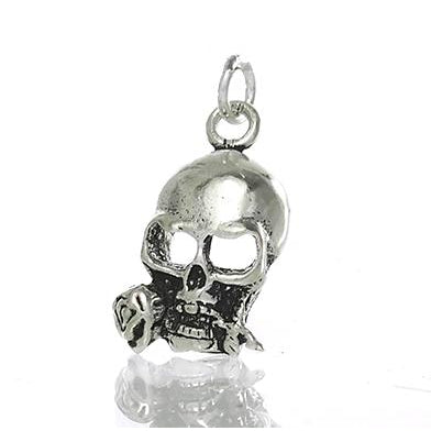 Sterling Silver Skull with Rose Pendant