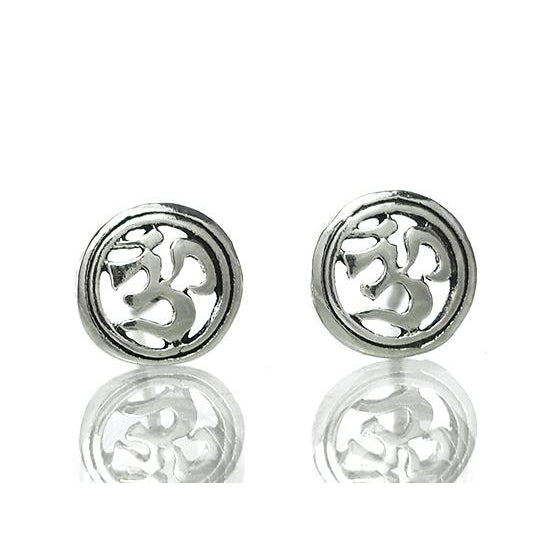 Sterling Silver Ohm in Circle Stud Earrings