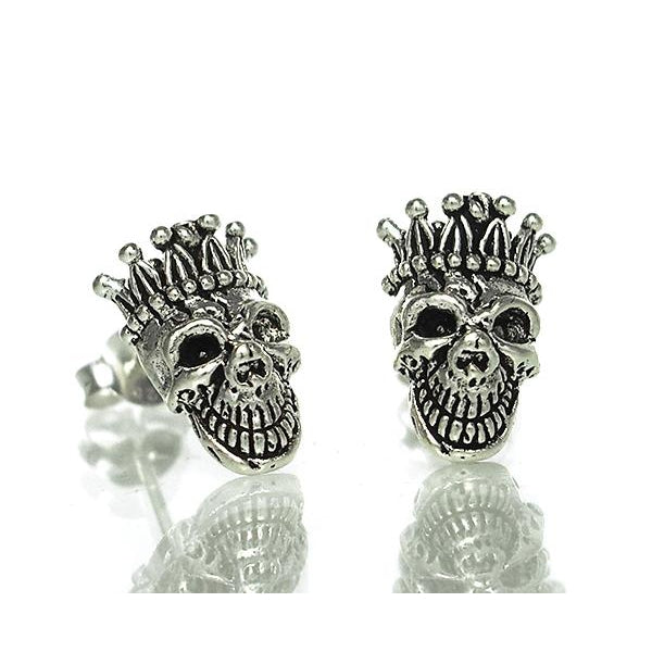 Rey San Pascual Sterling Silver Skull with Crown Stud Earrings