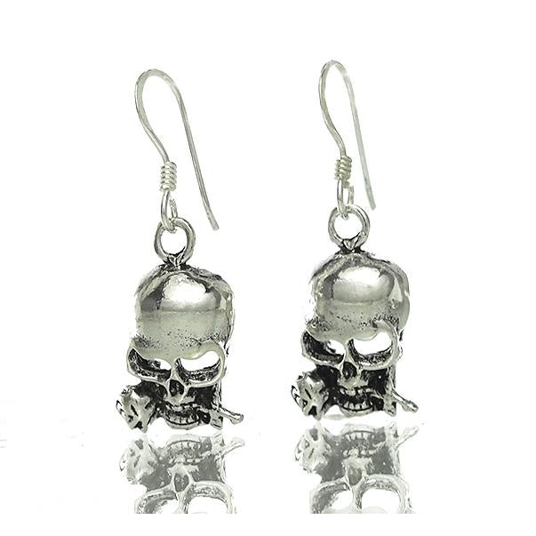 Sterling Silver Skull with Rose Earrings