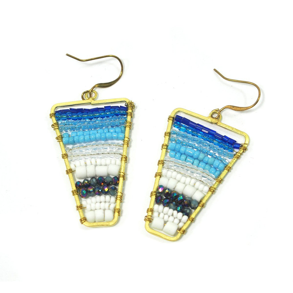 Seed Bead and Brass Earrings, A
