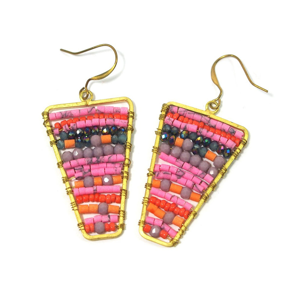 Seed Bead and Brass Earrings, B