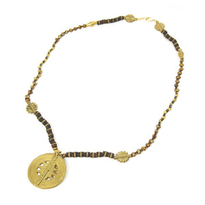 Fresh Water Pearl and Metal Bead Necklace with Baoule Brass Beads with Gold Plated Hook Clasp
