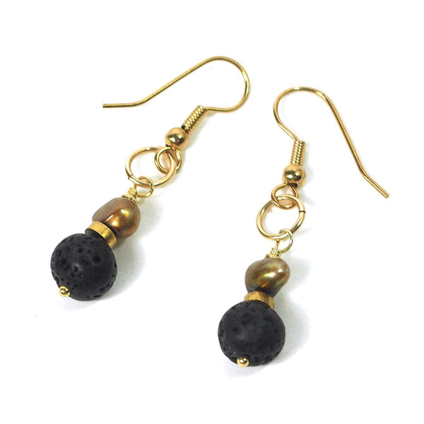 Fresh Water Pearl and Lava Stone Earrings with Gold Color Base Metal French Ear Wire