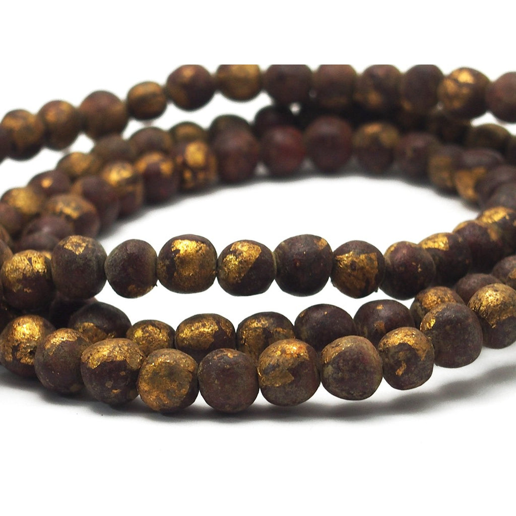 Terra Cotta Gold Leaf Mala 10mm