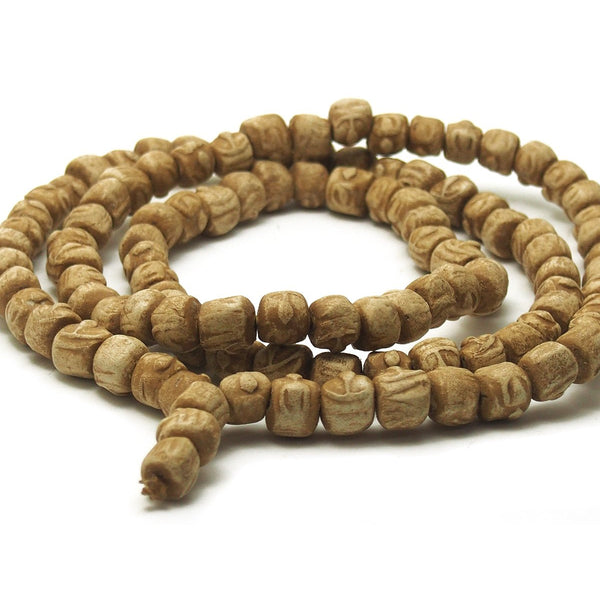 White Clay Buddha Mala 13-14mm