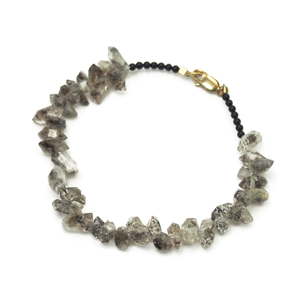 Herkimer Diamond Nuggets and Black Onyx Bracelet with Gold Filled Lobster Claw Clasp