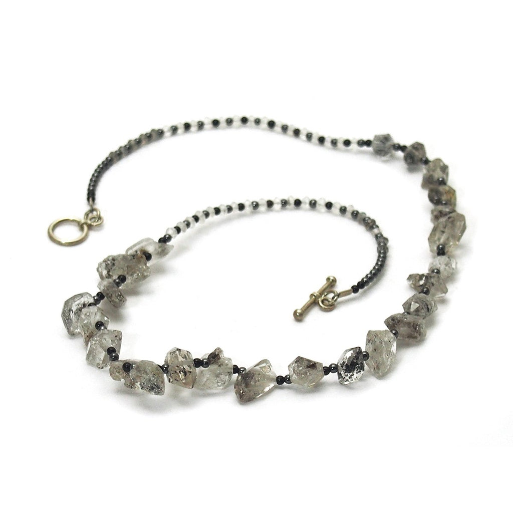Herkimer Diamond, Hematite, Moonstone, and Onyx Necklace with Sterling Silver Toggle Clasp