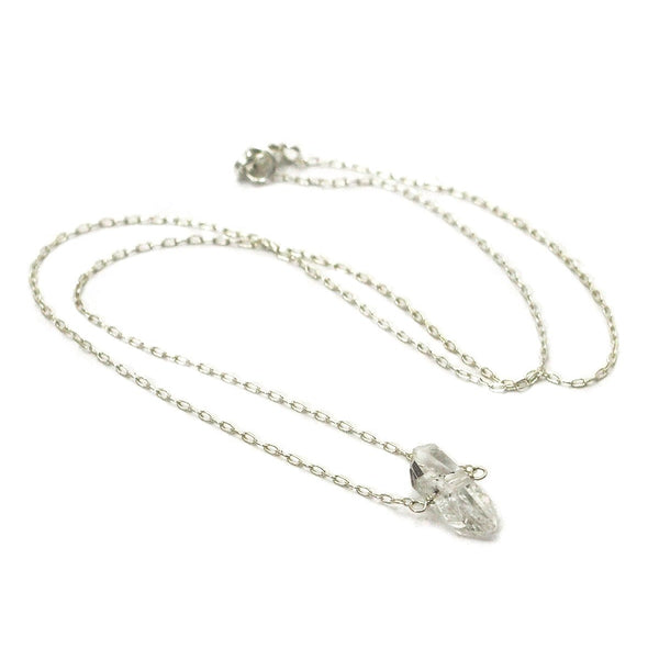 Herkimer Diamond Necklace on Sterling Silver Chain with Sterling Silver Lobster Claw Clasp