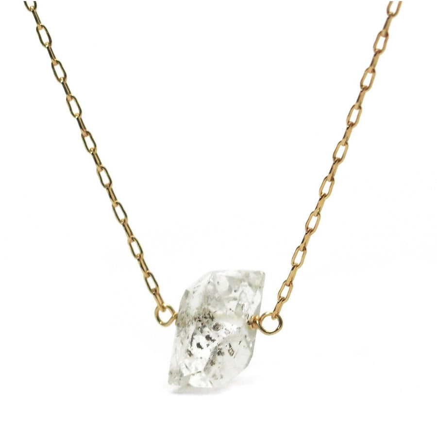 Herkimer Diamond Necklace on Gold Filled Chain with Gold Filled Lobster Claw Clasp
