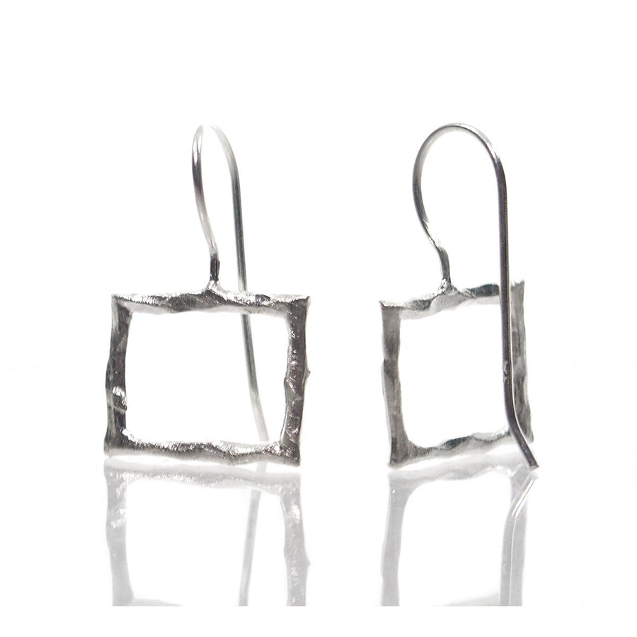 Sterling Silver Brushed Square Earrings
