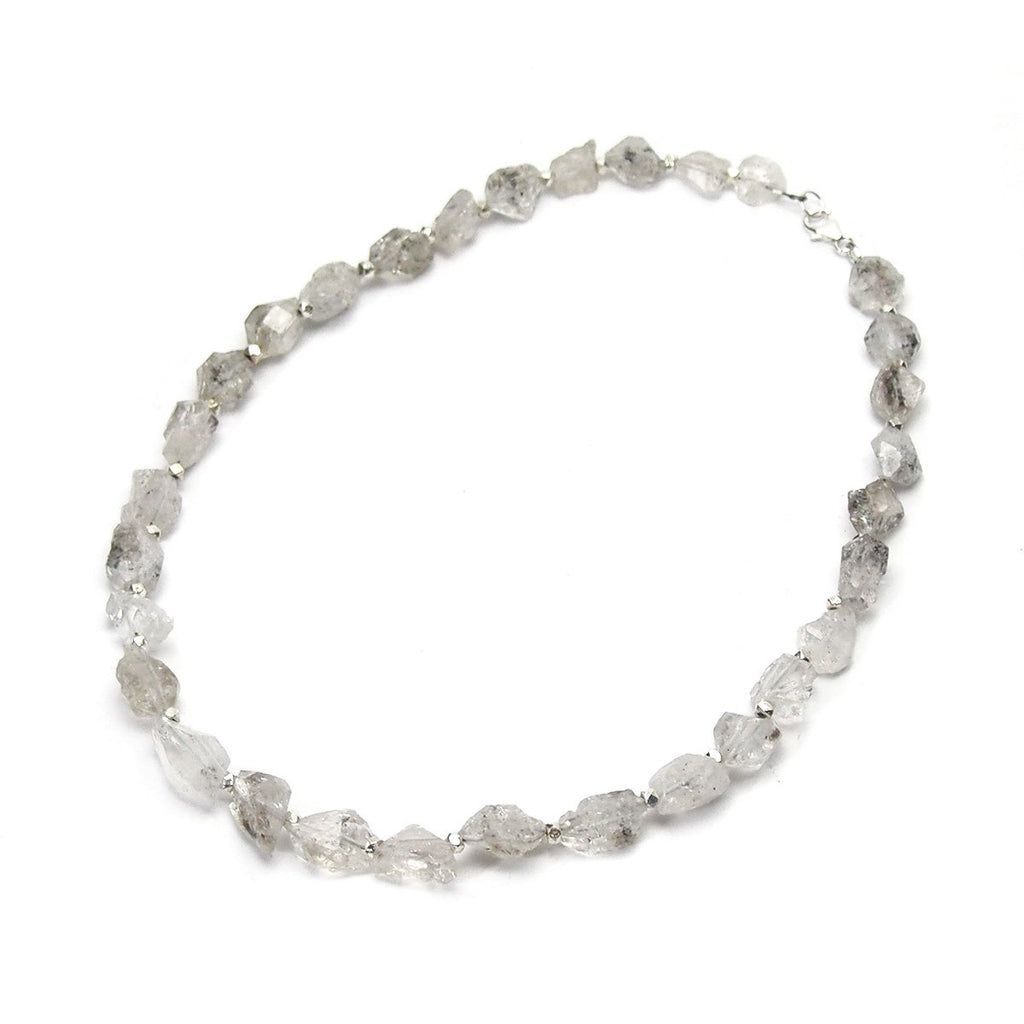 Herkimer Diamond Necklace with Sterling Silver Spacer Beads with Sterling Silver Trigger Clasp