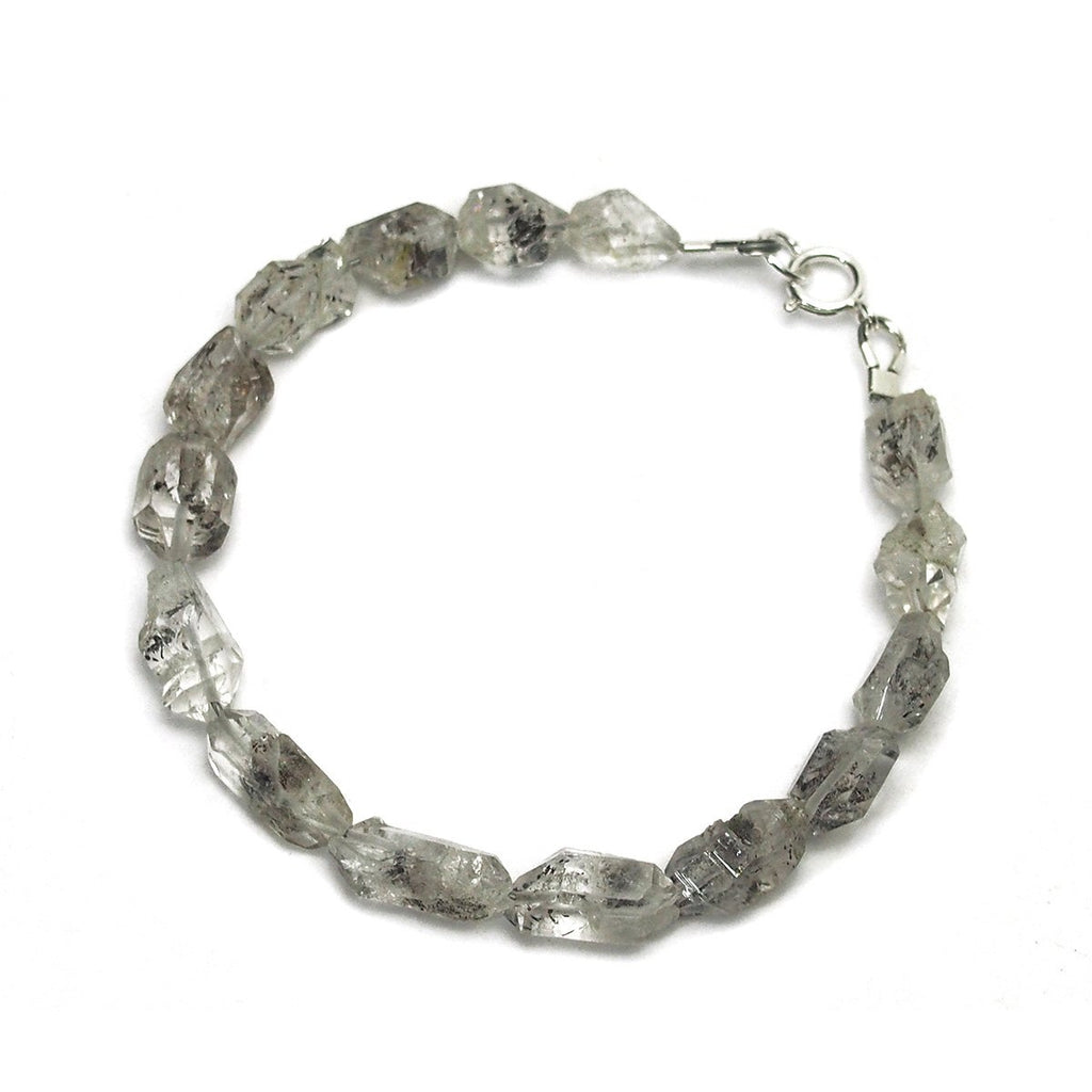 Herkimer Diamond Bracelet with Sterling Silver Spring Clasp