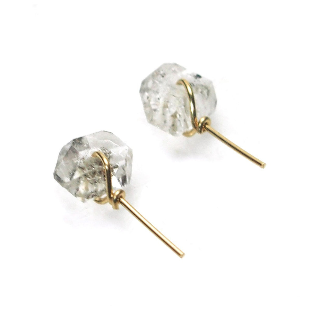 Herkimer Diamond Stud Earrings with Gold Filled Earwires